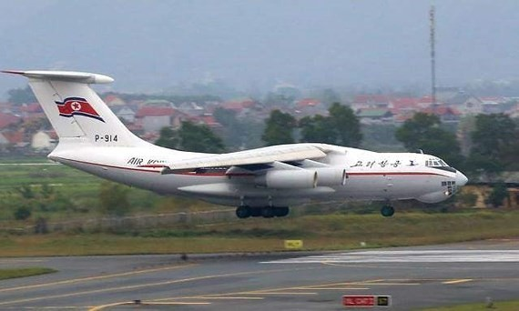The IL-76 MD transport aircraft lands on Noi Bai International Airport.