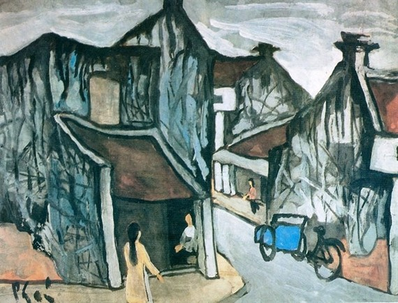 A painting of Hanoi's Old Quarter by Bui Xuan Phai, whose paintings have been copied and sold at high prices in and outside the country. (Photo: redsvn.net)