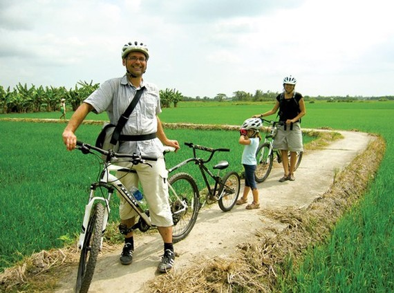 Foreign tourists visit the Mekong Delta region.