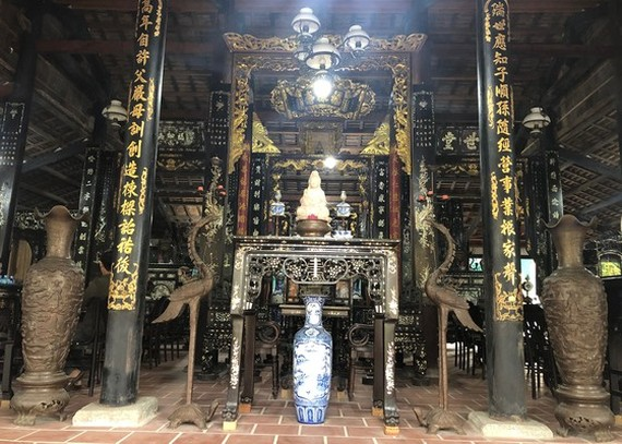 Inside of the house with an ancient architecture style in the feudal regime