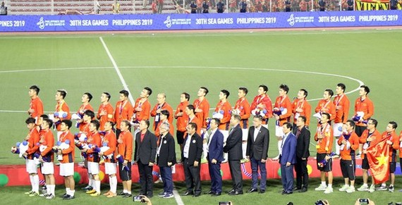 Vietnam defeated Indonesia 3-0 to become the champion of the 30th SEA Games men's football in the Philippines on December 10. (Photo: Sggp)