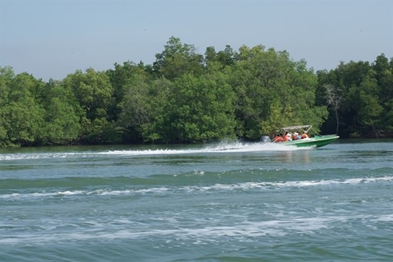 Visitors aboard a speed boat to visit Thieng Lieng Island in HCM City's Can Gio district (Photo: VNA)