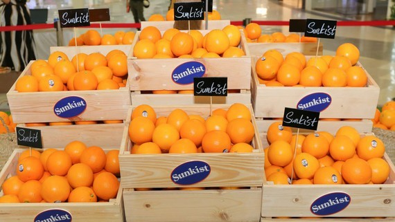 Navel oranges are displayed at the launching ceremony in Van Hanh Mall in HCMC. (Photo: KK)