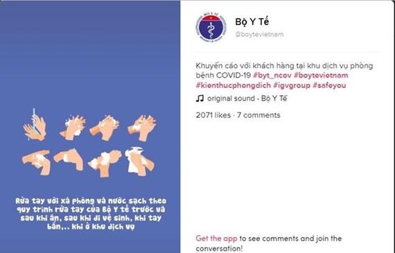 A screenshot of the TikTok account of Vietnam's Ministry of Health