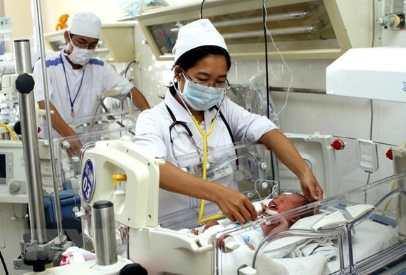 Health workers tend to newborn babies at the General Hospital of Khanh Hoa province (Photo: VNA)