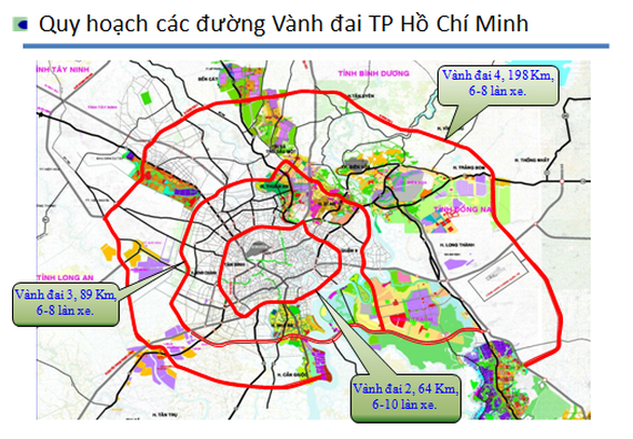 A map shows HCM City's ring roads No 3 and 4 (Photo courtesy of HCM City's Department of Transport)