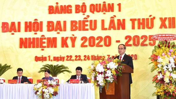 Secretary of the municipal Party Committee Nguyen Thien Nhan speaks at the 12th Congress of District 1's Party Committee for the 2020-2025 tenure on July 23. (Photo: SGGP)