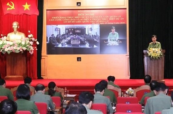 Major general Nguyen Duy Ngoc, Deputy Minister of Public Security gives a speech at the conference. (Photo: VNA)