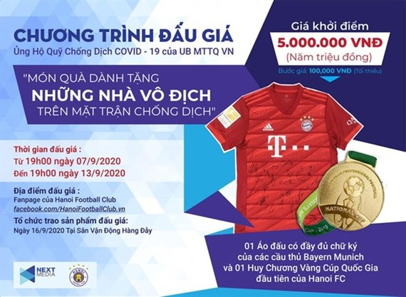 Next Media and Hanoi FC have launched an auction programme to support the fight against the COVID-19.