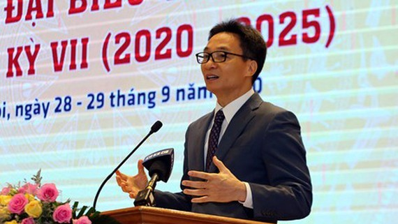 Deputy Prime Minister Vu Duc Dam speaks at the VDAA's seventh national congress for the 2020-2025 tenure.