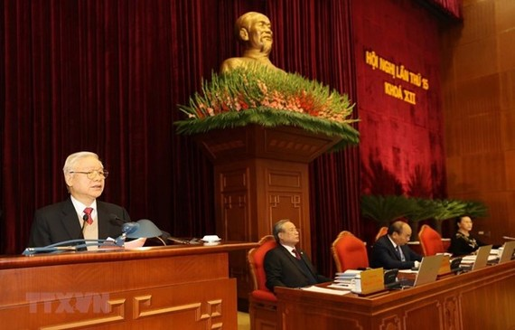 Party General Secretary and President Nguyen Phu Trong speaks at the 15th  plenum of the 12th Party Central Committee (Photo: VNA)