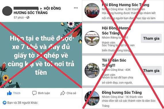 Các trang giả mạo Hội đồng hương Sóc Trăng với nội dung sai sự thật