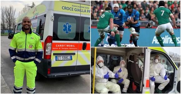 Maxime Mbanda tạm dừng sự nghiệp bóng bầu dục để trở thành tài xế lái xe cứu thương hỗ trợ ngành y tế ở Italy.