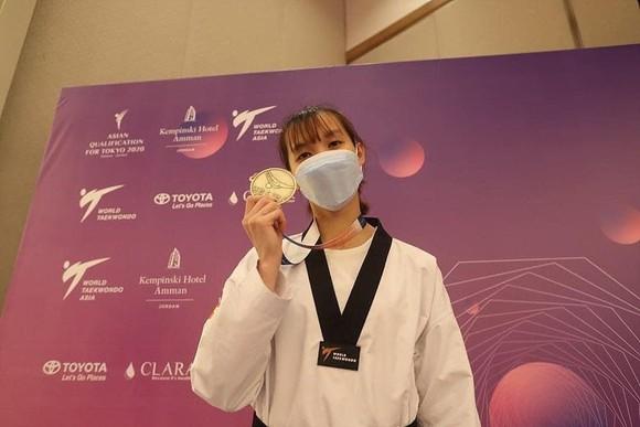 Nữ võ sĩ Trương Thị Kim Tuyền đoạt vé đến Tokyo 2020. Ảnh: Liên đoàn Taekwondo thế giới