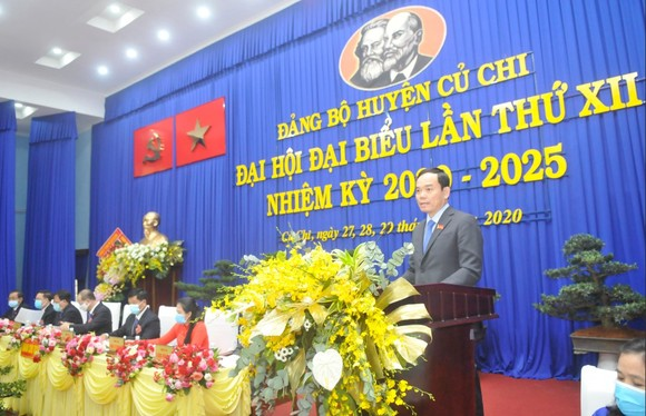 Đồng chí Trần Lưu Quang phát biểu tại Đại hội. Ảnh: CAO THĂNG