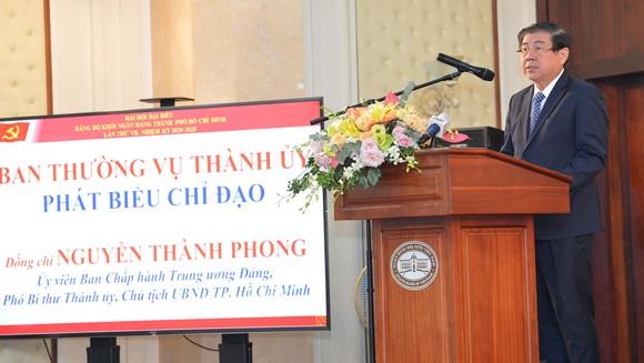 Chủ tịch UBND TPHCM Nguyễn Thành Phong phát biểu chỉ đạo tại Đại hội Đảng bộ Khối Ngân hàng TPHCM. Ảnh: VIỆT DŨNG