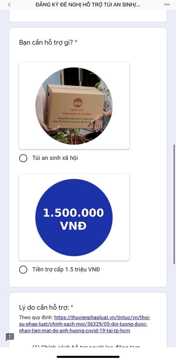 Người dân TPHCM phát tín hiệu cần hỗ trợ trực tuyến để nhận tiền mặt, túi an sinh ảnh 2