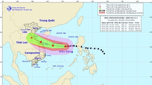 Storm Vamco is forecast to enter mainland provinces from Ha Tinh to Thua Thien-Hue