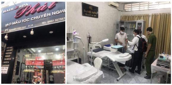 """Một cơ sở phẫu thuật thẩm mỹ không phép núp bóng dưới dạng """"dịch vụ cắt tóc, uốn tóc, gội đầu"""" trên địa bàn quận Bình Thạnh"""