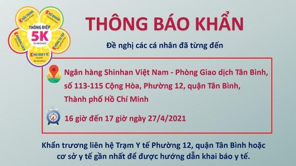 Khẩn: Tìm người từng đến phòng giao dịch Tân Bình của Ngân hàng Shinhan Việt Nam