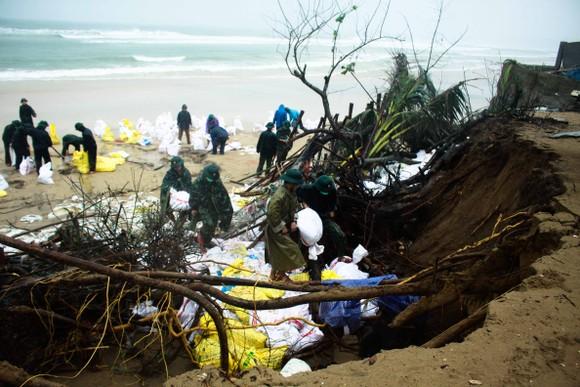 Bộ đội giúp dân chống sạt lở bờ biển Bình Hải ảnh 4