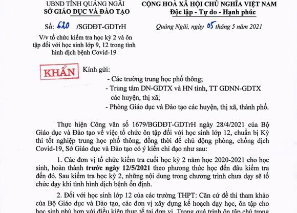 Quảng Ngãi: Kiểm tra cuối học kỳ 2 hoàn thành trước ngày 12-5 để phòng chống dịch Covid-19 ảnh 1
