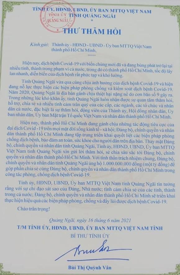 Bí thư Tỉnh ủy Quảng Ngãi gửi thư thăm hỏi, Quảng Ngãi ủng hộ 1 tỷ đồng tiếp sức TPHCM chống dịch Covid-19 ảnh 1