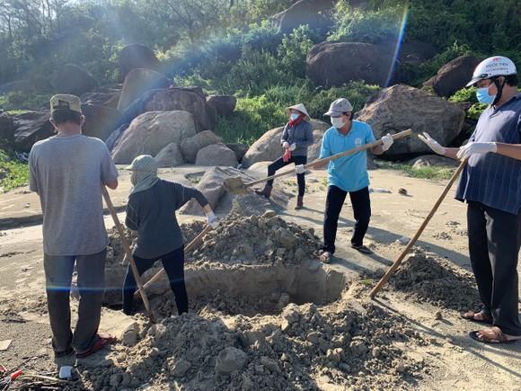 Quảng Ngãi: Chôn lấp hơn 5 tấn cá nuôi lồng bè bị chết sau bão số 5 ảnh 9