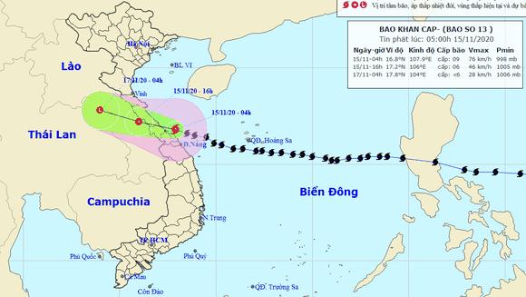 Bão số 13 khi vào đất liền các tỉnh Thừa Thiên - Huế đến Hà Tĩnh suy yếu thành áp thấp nhiệt đới