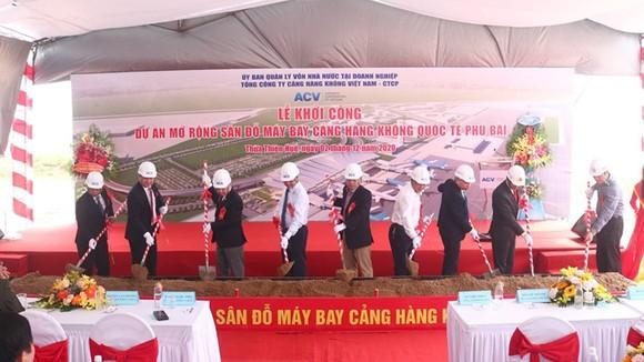 """Khởi công Dự án Mở rộng sân đỗ máy bay - Cảng hàng không quốc tế Phú Bài"""". Ảnh: ACV"""