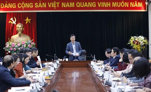 Trưởng Ban Tuyên giáo Trung ương Võ Văn Thưởng chủ trì cuộc họp. Ảnh: TTXVN