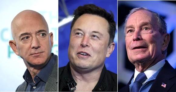 Những tỷ phú trong nhóm giàu nhất thế giới (từ trái sang): Jeff Bezos,  Elon Musk và Michael Bloomberg