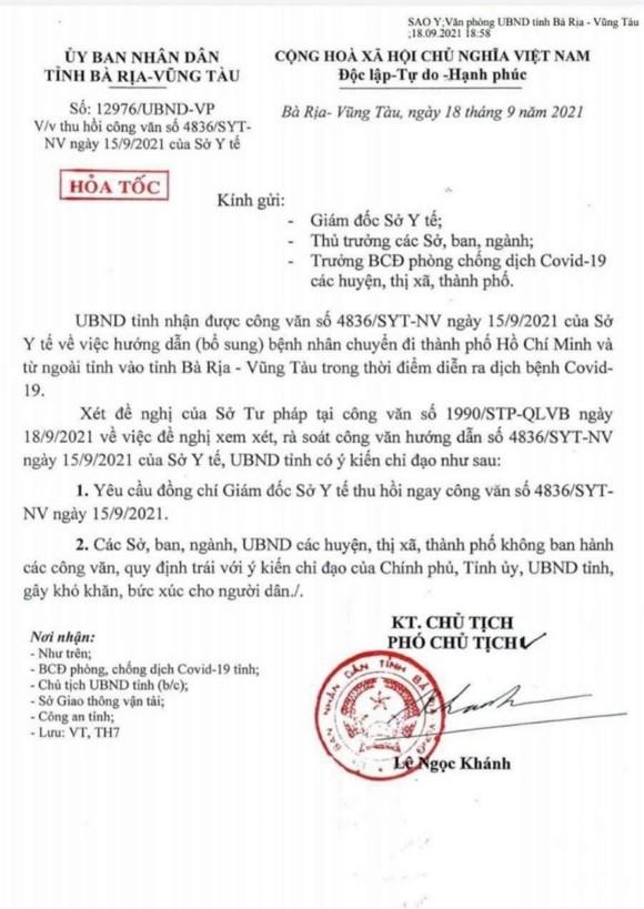 Bà Rịa – Vũng Tàu: Hỏa tốc thu hồi văn bản chuyển viện phải nộp hồ sơ cho ngành giao thông ảnh 1