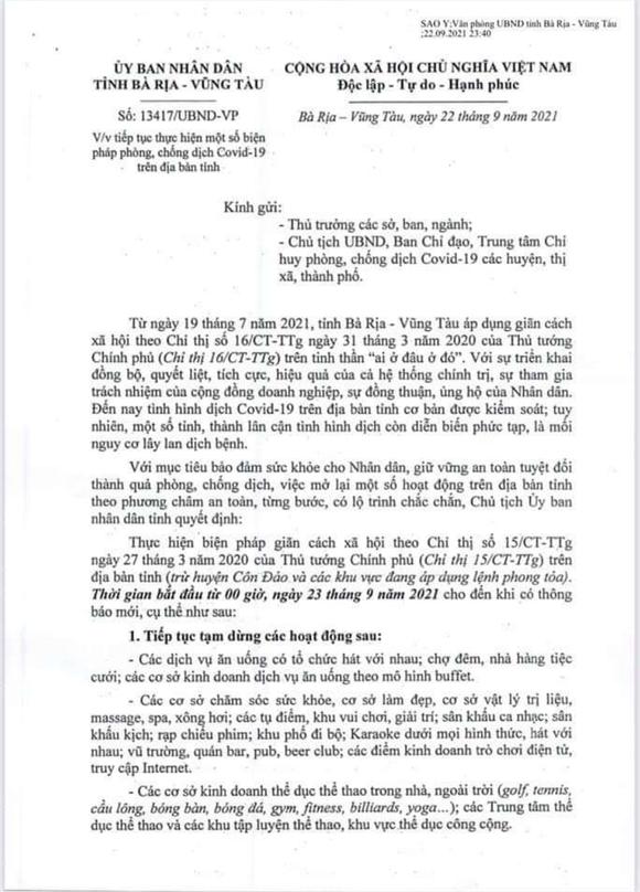 Bà Rịa – Vũng Tàu áp ụng giãn cách theo Chỉ thị 15, riêng Côn Đảo thực hiện theo Chỉ thị 19 ảnh 1