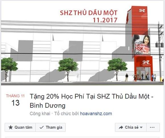市商業華語培訓中心(SHZ)在平陽省開設的平陽商業華語培訓中心昨(13)日投入活動。(圖源:臉書粉絲專頁截圖)
