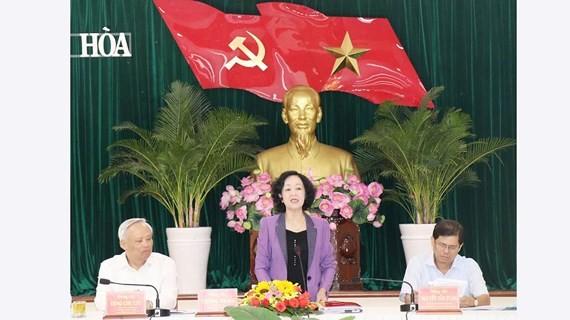 中央民運部長張氏梅在會議上發表講話。(圖源:越通社)