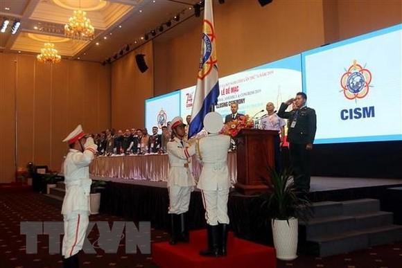 圖為國際軍事體育理事會(CISM) 第74屆軍體大會閉幕式升旗儀式。(圖源:越通社)