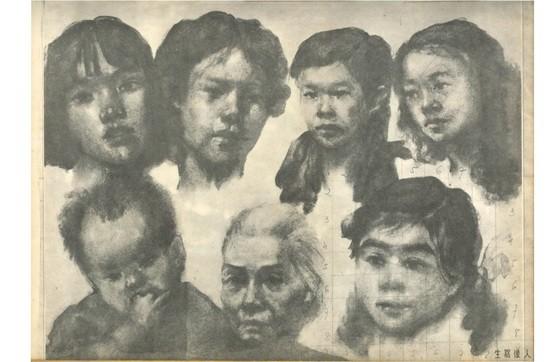 劉曲樵畫家的作品《家人》。前排中間人物為其母親。