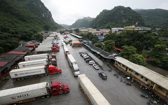 數十輛運載農產品的集裝箱大貨車在諒山省新清口岸附近滯留等待通關。(圖源:互聯網)