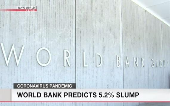 世界銀行公佈報告稱,預計今年全球經濟將下滑5.2%,陷入二戰以來最嚴重的經濟衰退。(圖源:NHK視頻截圖)