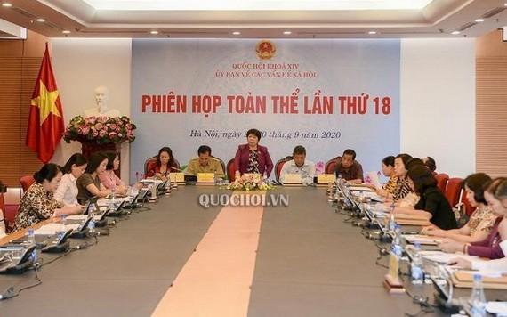 國會社會問題委員會第十八次全體會議現場。(圖源:Quochoi.vn)