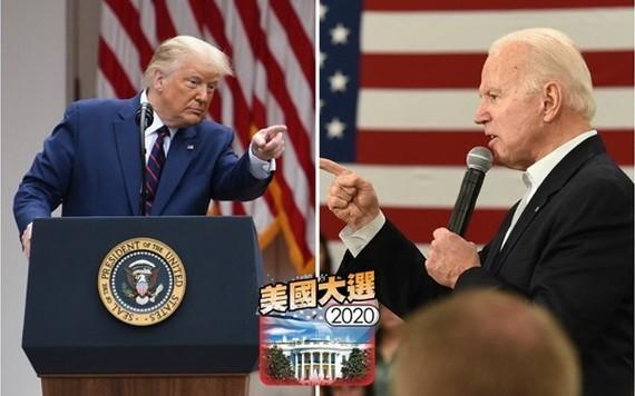 特朗普(左)及拜登同在佛州坦帕市舉行造勢大會。(圖源:互聯網)