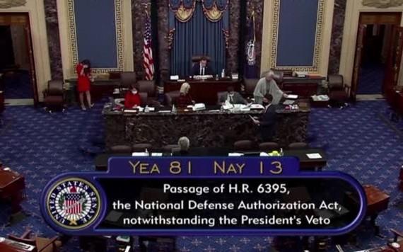 美國國會參議院當地時間1月1日以81票對13票,表決通過推翻特朗普的否決。(圖源:路透社)