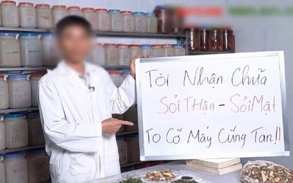 """一名自稱""""良醫""""在社交網上發佈腎結石治療的廣告畫面。(圖源:互聯網)"""