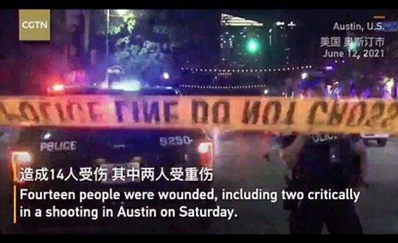 美國當地時間6月12日凌晨1時30分許,德克薩斯州奧斯丁市中心發生槍擊事件,造成14人受傷。(圖源:視頻截圖)