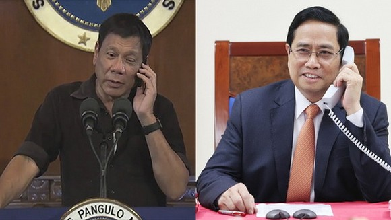 值越南與菲律賓建交45週年(1976.7.12-2021.7.12)紀念,政府總理范明政與菲律賓總統杜特爾特通電話。