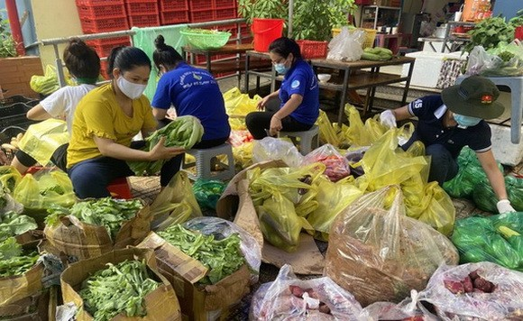 平盛郡第七坊人委會幹部、員工將熱心人士捐贈的蔬菜分類,然後發放給民眾。
