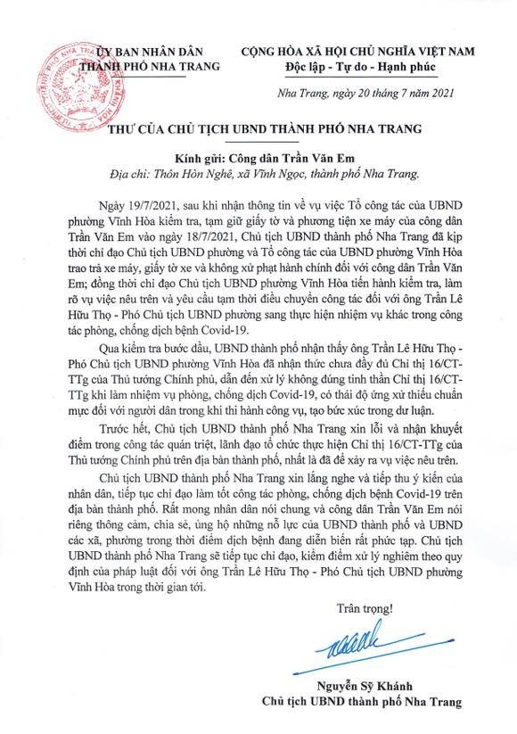 Chủ tịch UBND TP Nha Trang gởi thư xin lỗi nhân vật trong vụ việc 'bánh mì không phải thực phẩm thiết yếu' ảnh 1