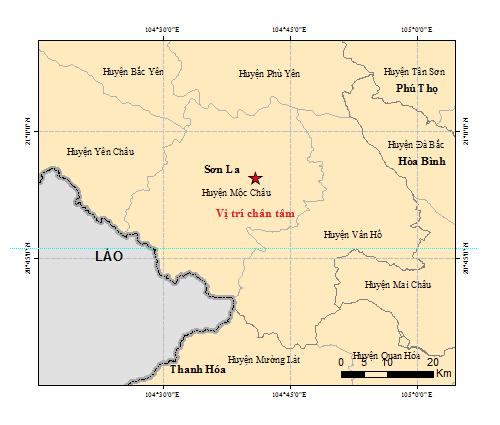 Bản đồ chấn tâm động đất tại Sơn La ngày 27-7
