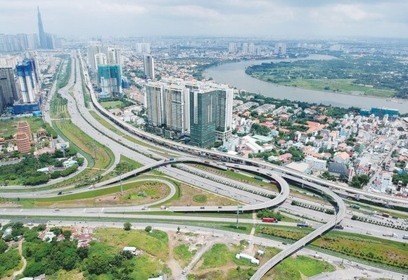 "A view of the proposed innovative hub tentatively called Thu Duc City. The government has approved a proposal by HCMC to merge three eastern districts into one administrative unit, creating a ""city within a city"". (Photo: SGGP)"